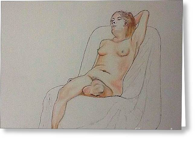 Nude Life Drawing Greeting Card