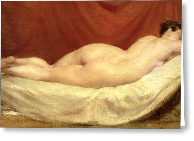 Nude Lying On A Sofa Against A Red Curtain Greeting Card