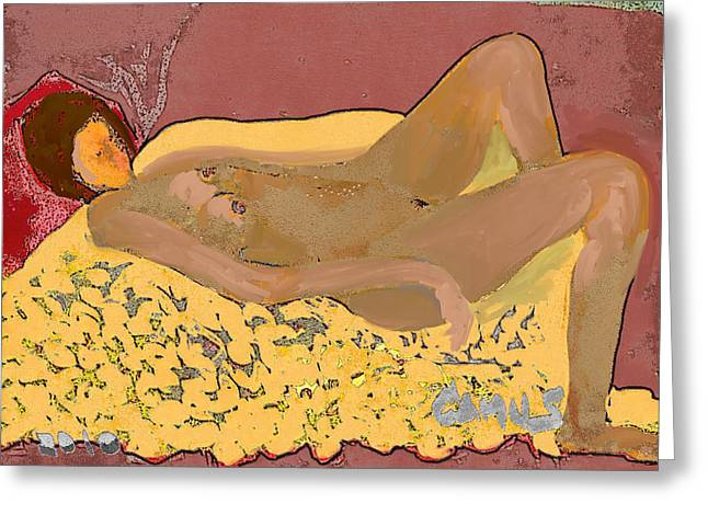Nude Model In Relax Greeting Card by Carlos Camus