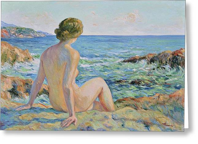 Nude On The Coast Monaco Greeting Card