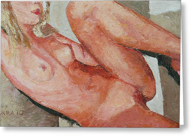 Nude On The Diagonal Greeting Card by Allan OMarra