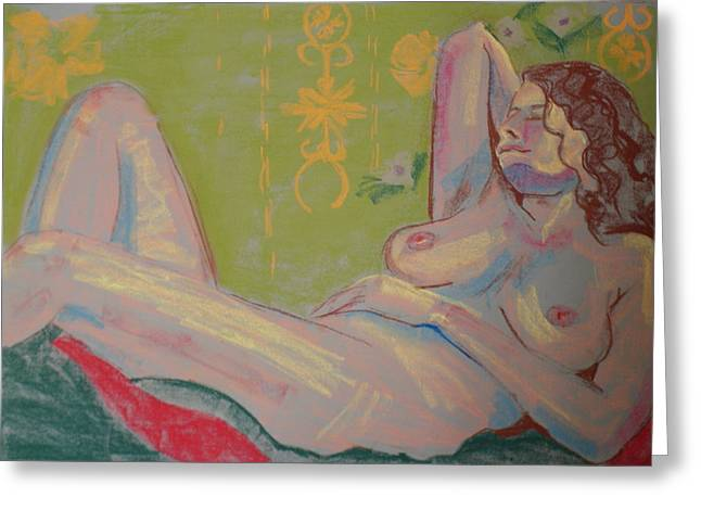 Life Drawing Pastels Greeting Cards - Nude Pastel Study Greeting Card by Joanne Claxton