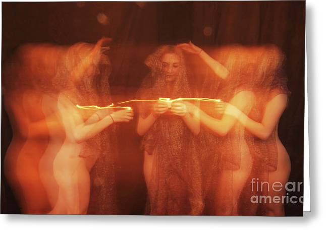 Nude Ritual With Candles - 3020cr Greeting Card