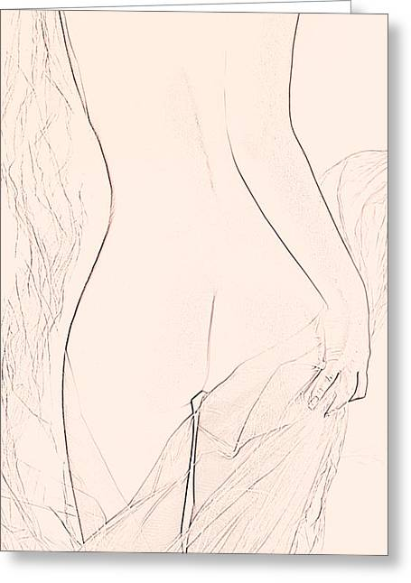 Nude Sketch Greeting Card by Naman Imagery