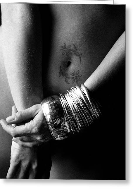 Nude Tattoo And Bangles Greeting Card