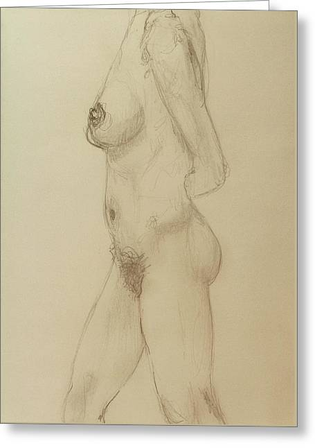 Nude Torso Standing Greeting Card by Rand Swift