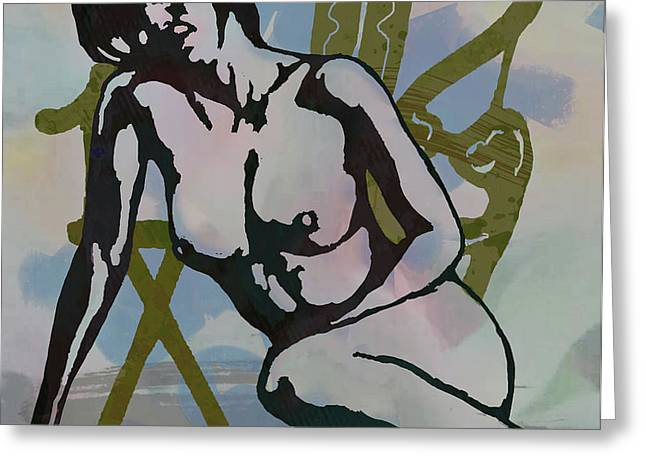 Nude With Armchair - Art Poster Greeting Card by Kim Wang