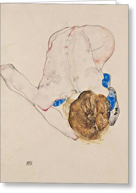 Nude With Blue Stockings, Bending Forward 1912 Greeting Card by Egon Schiele