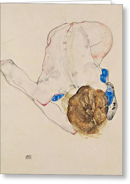 Nude With Blue Stockings, Bending Forward Greeting Card by Egon Schiele