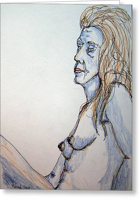 Nude With Blues Greeting Card by Rand Swift