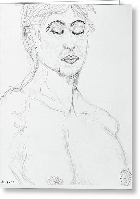Nude With Eyes Closed Greeting Card by Rand Swift