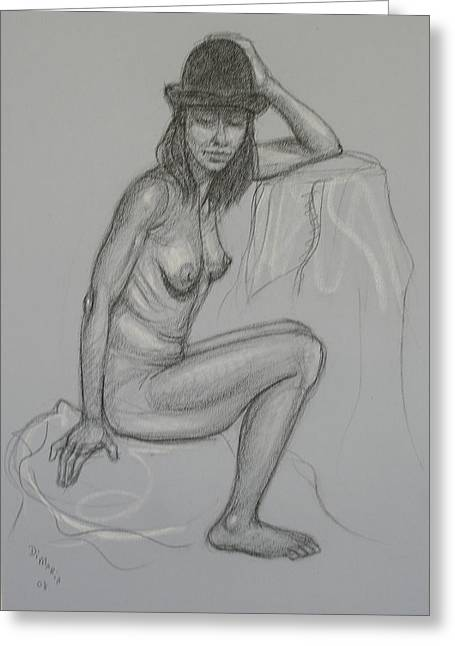Nude With Hat 1 Greeting Card by Donelli  DiMaria