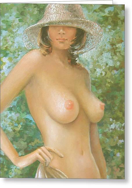 Nude With Hat Greeting Card by Vali Irina Ciobanu