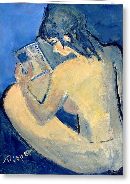 Nude With Nose In Book Greeting Card by Betty Pieper