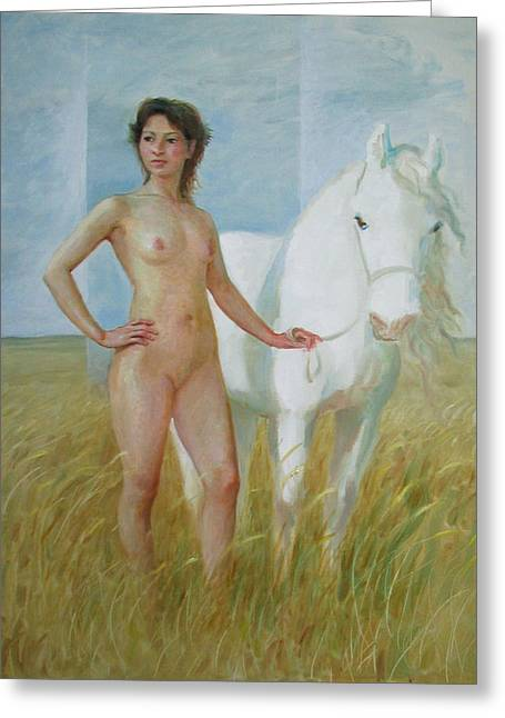Nude With White Horse Greeting Card