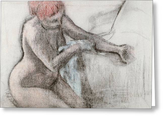 Nude Woman Drying Herself After The Bath Greeting Card by Edgar Degas