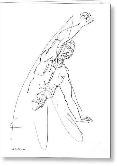 Nude_male_drawing_25 Greeting Card by Gordon Punt