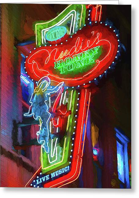 Nudie's Honky Tonk - Impressionistic Greeting Card by Stephen Stookey