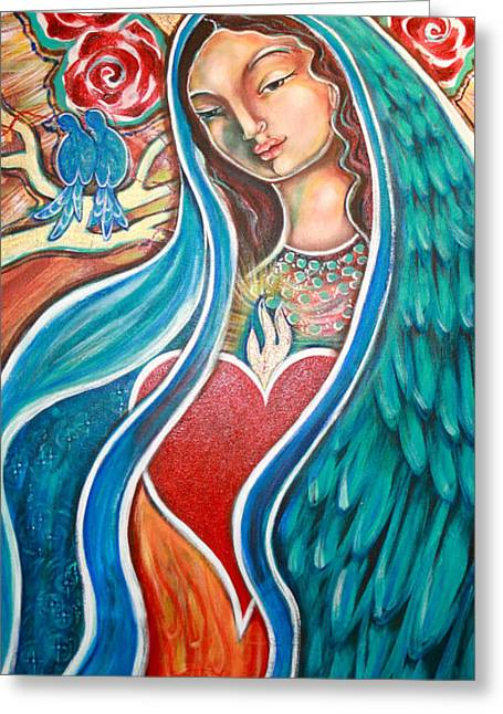 Outsider Art Paintings Greeting Cards - Nuestra Senora Maestosa Greeting Card by Shiloh Sophia McCloud