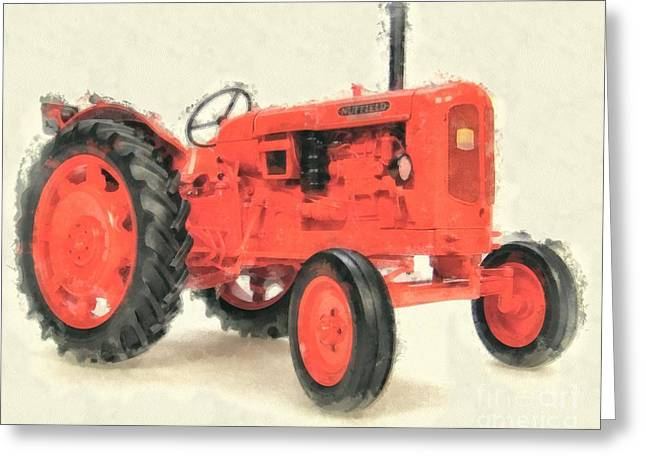 Nuffield Tractor Greeting Card by Edward Fielding