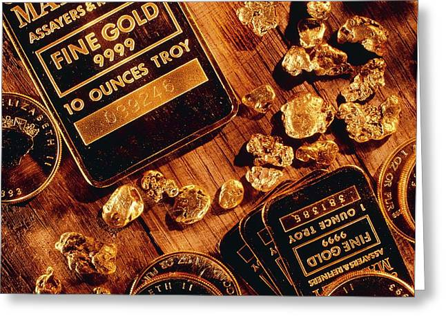 Nuggets, Bars And Coins Made Of Gold Greeting Card by David Nunuk