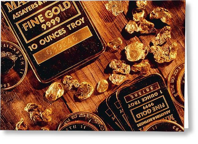 Nuggets, Bars And Coins Made Of Gold Greeting Card by David Nunuk