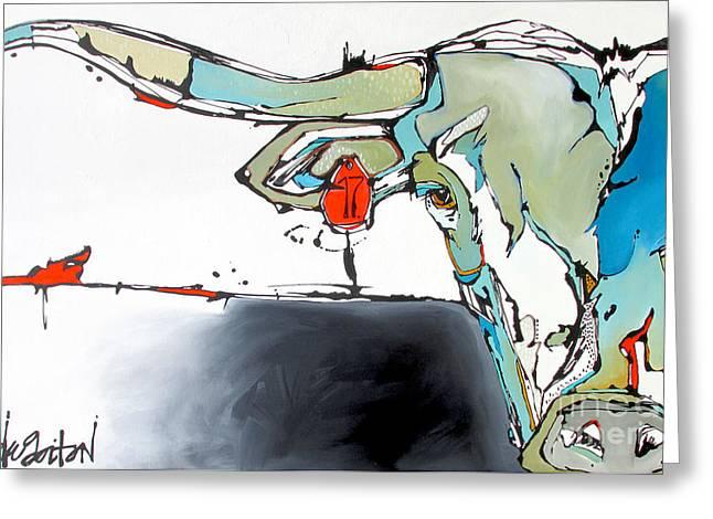 Number 17 Longhorn Steer Greeting Card by Nicole Gaitan