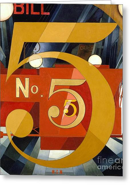 Number 5 In Gold Greeting Card by Pg Reproductions