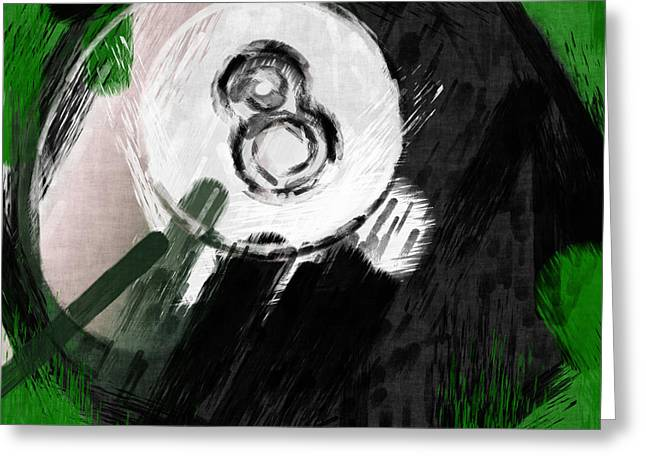Number Eight Billiards Ball Abstract Greeting Card by David G Paul