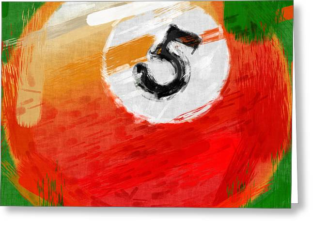 Number Five Billiards Ball Abstract Greeting Card by David G Paul