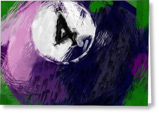 Number Four Billiards Ball Abstract Greeting Card by David G Paul
