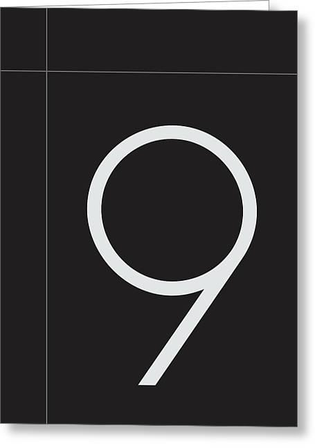Number Nine Minimalist Print Greeting Card