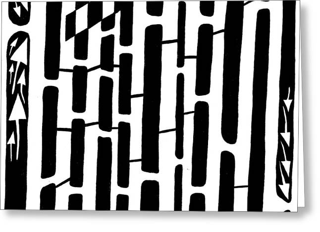 Number One Maze Greeting Card by Yonatan Frimer Maze Artist