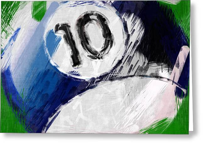 Number Ten Billiards Ball Abstract Greeting Card by David G Paul