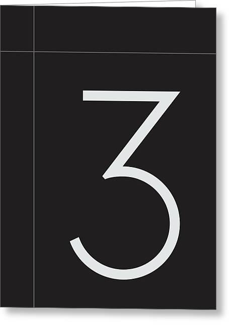 Number Three Minimalist Print Greeting Card