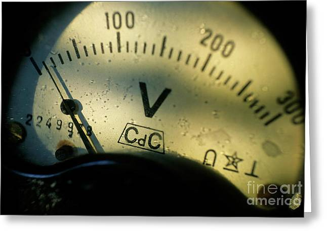 Numbers On The Dial Of A Voltmeter Greeting Card by Sami Sarkis