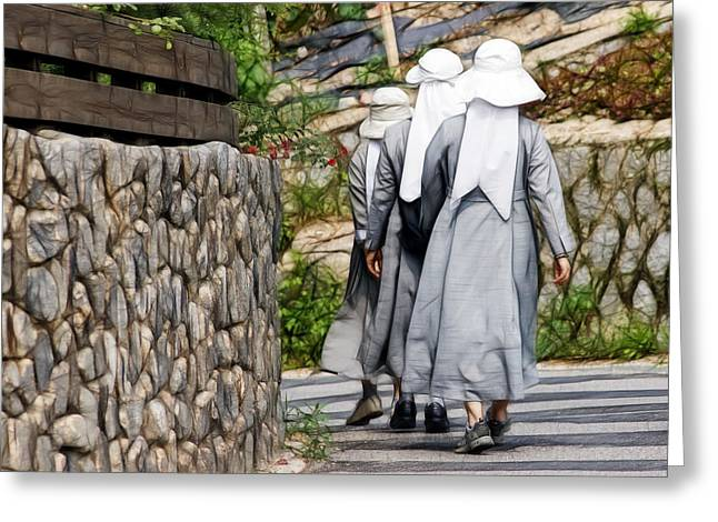 Nuns In A Row Greeting Card by Cameron Wood