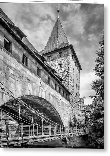 Nuremberg Chained Suspension Bridge Monochrome Greeting Card by Melanie Viola
