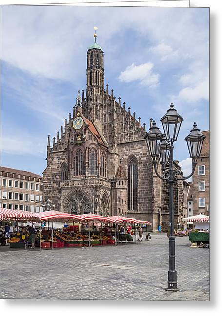 Nuremberg Church Of Our Lady And Main Market Greeting Card