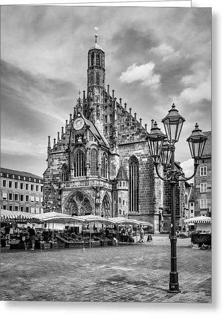 Nuremberg Church Of Our Lady And Main Market Monochrome Greeting Card by Melanie Viola