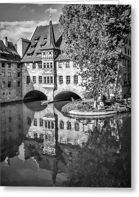 Nuremberg Hospital Of The Holy Spirit And River Pegnitz Monochrome Greeting Card by Melanie Viola