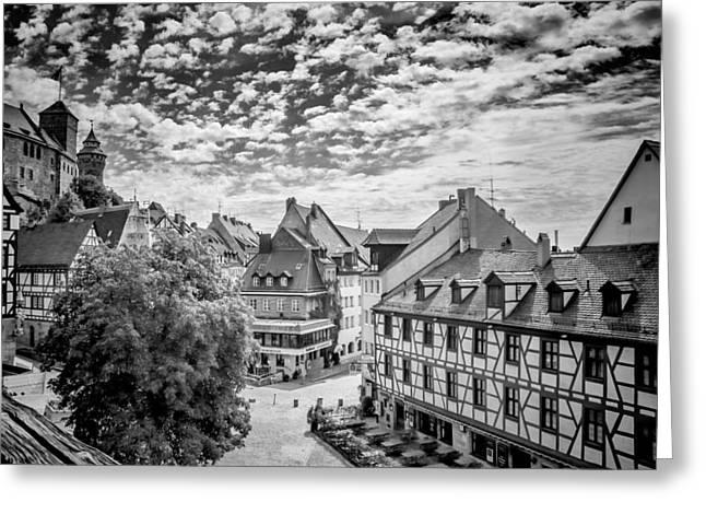 Nuremberg Old Town Overview Monochrom Greeting Card by Melanie Viola