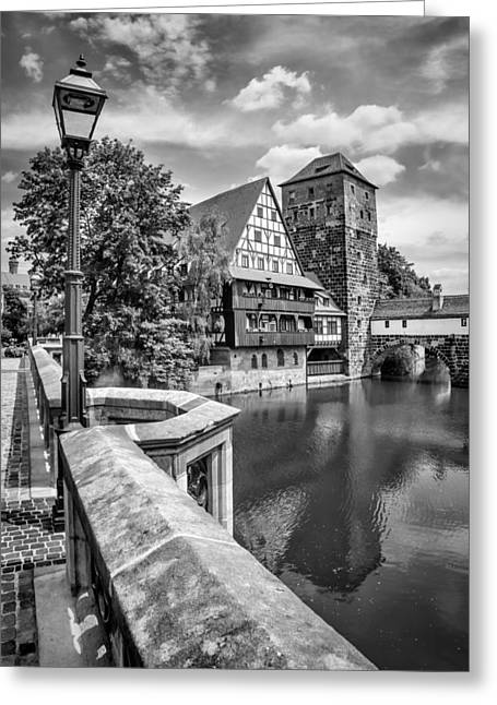 Nuremberg View From Maxbridge To Hangmans Bridge Monochrome Greeting Card by Melanie Viola