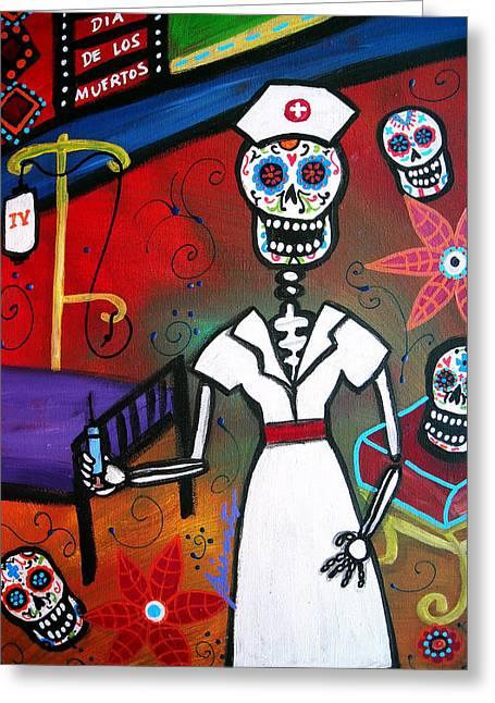 Nurse Dia De Los Muertos Greeting Card by Pristine Cartera Turkus