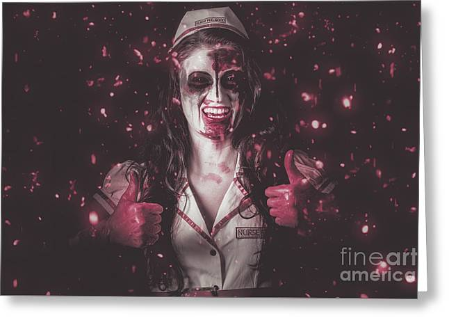 Nurse Operating In Falling Blood. Reign Of Terror Greeting Card