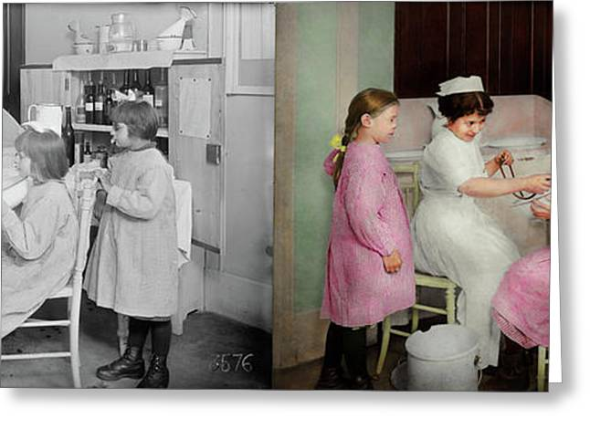 Greeting Card featuring the photograph Nurse - Playing Nurse 1918 - Side By Side by Mike Savad