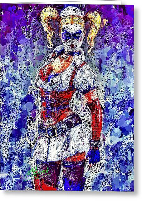 Greeting Card featuring the mixed media Nurse Harley Quinn by Al Matra