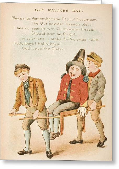 Nursery Rhyme And Illustration Of Guy Greeting Card by Vintage Design Pics