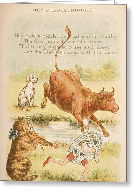 Nursery Rhyme And Illustration Of Hey Greeting Card by Vintage Design Pics