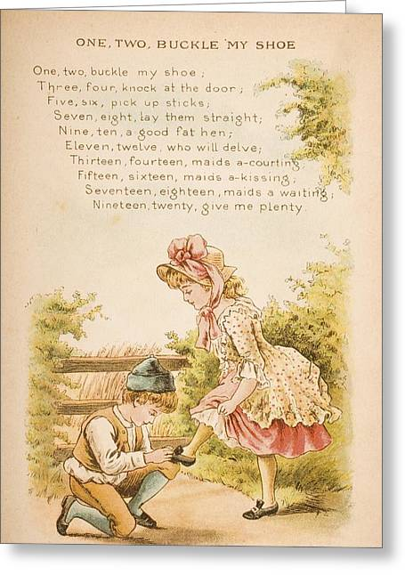Nursery Rhyme And Illustration Of One Greeting Card by Vintage Design Pics